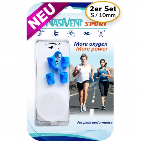 Nasivent Sport Blue 2 Pack Size S / 10 mm - for better nasal breathing and optimizing oxygenation in sports and leisure activities -
