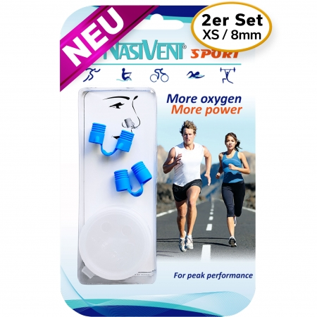 Nasivent Sport Blue 2 Pack Size XS / 8 mm - for better nasal breathing and optimizing oxygenation in sports and leisure activities -