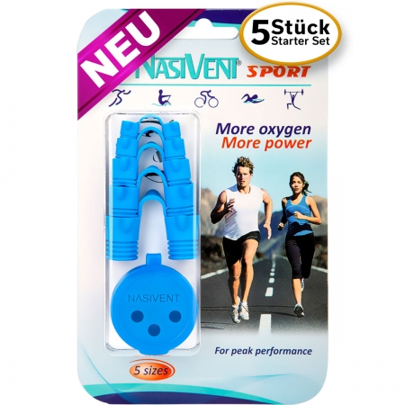Nasivent Sport Blue Starter Set 5 different Sizes- more oxygen more power
