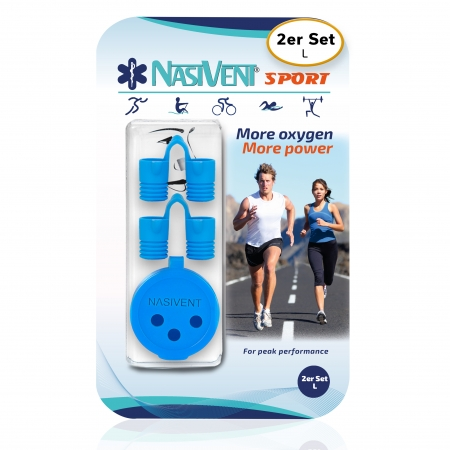 Nasivent Sport Blue 2 Pack Size L - for better nasal breathing and optimizing oxygenation in sports and leisure activities -