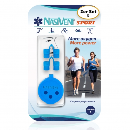Nasivent Sport Blue 2 Pack Size S  - for better nasal breathing and optimizing oxygenation in sports and leisure activities -