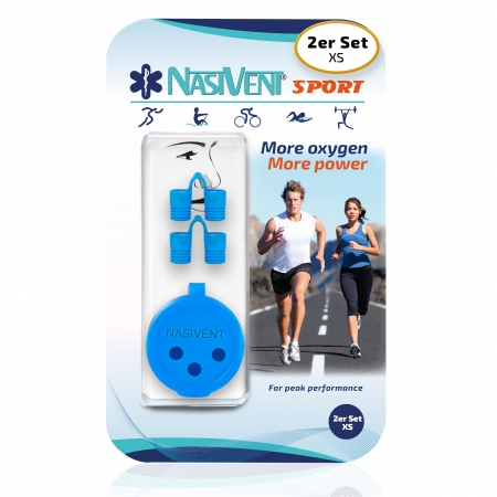 Nasivent Sport Blue 2 Pack Size XS - for better nasal breathing and optimizing oxygenation in sports and leisure activities -