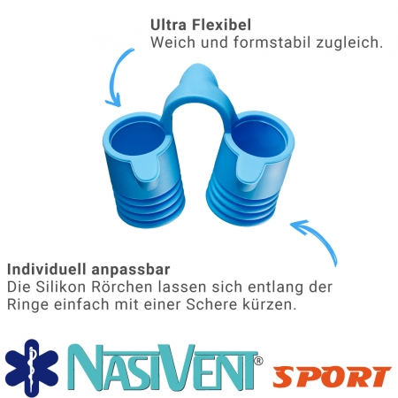Nasivent Sport Blue 2 Pack  Size XL / 15 mm / blue - for better nasal breathing and optimizing oxygenation in sports and leisure activities -