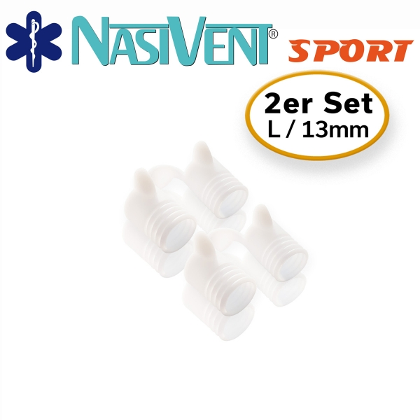 Nasivent Sport Snow White 2 pack Size L / 13 mm - improves nasal breathing - optimizes oxygen supply during sport, regeneration and sleep - Limited Edition