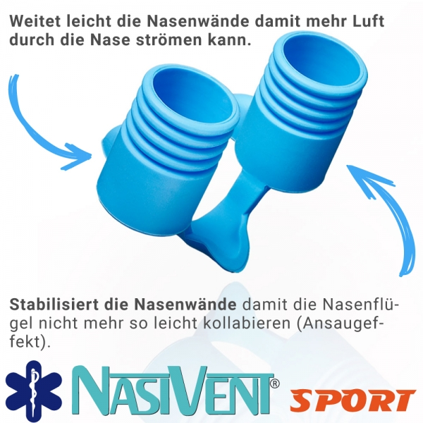 Nasivent Sport Blue 2 Pack Size L / 13 mm - for better nasal breathing and optimizing oxygenation in sports and leisure activities -