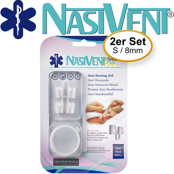 Nasivent Tube Plus 2er Pack - Gr. S/8mm - Anti Schnarch Mittel (Neues Model)